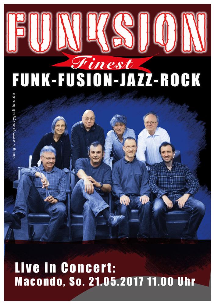Funksion_Bandplakat 2017_Jazzrock, Funk, Fusion_design_www.groovygrafillero.de